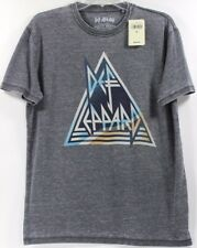 NWT Lucky Brand Def Leppard 1977 Metallic Triangle Logo Gray T-Shirt Tee Band