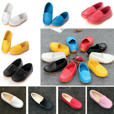 Kids Boys Girls Slip On Leather Flat Loafers Baby Toddler Casual Soft Boat Shoes