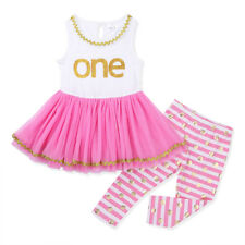 Baby Toddler Girls 1st Birthday Dress Outfit Tops + Polka Dots Pants 2 Piece Set