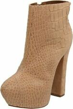 REPORT SIGNATURE LAYTON HIGH THICK HEEL PLATFORM ANKLE BOOTIE TAUPE BEIGE CROCO