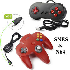 Red Nintendo 64 N64 & SNES Classic Wired USB Controller Gamepad for PC Mac US