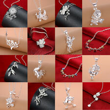 Xmas Wholesale Ladies Solid 925 Silver Jewelry Pendant Necklace Chain Jewellery