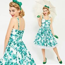 Vintage 1950s 50s Teal Blue Floral Full Skirt Rockabilly Pinup Dress