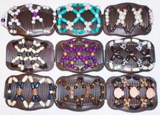 """Double Magic Hair Combs, Angel Wings Clips 4x3.5"""", African Butterfly, BROWN S104"""