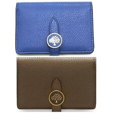 MULBERRY TREE CARD HOLDER WALLET CROSS GRAIN LEATHER - CLAY and BLUE COLOUR