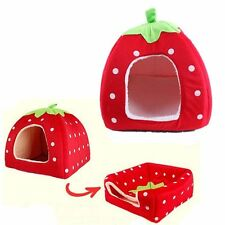 Pet Dog Cat Soft Strawberry Bed House Doggy Puppy Warm Cushion Basket Pad Kennel