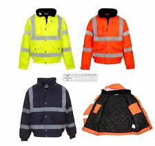 Hi Viz High Vis Visibility Bomber Jacket Work Coat Security Jacket Waterproof