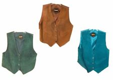 Learsi Suede Leather Vests in Brown, Dark Green & Green 100% Genuine Sz L