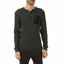 Distortion Mens Long Sleeve Basic Thermal Henley T Shirt, Casual Henley Pullover