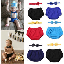 1st Birthday Baby Boys Outfit Infant Diaper Cover Bloomers Bowtie Set Photo Prop