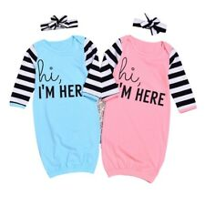 6-12M Baby Girl Cotton Long Sleeve Sleepwear Pajamas Headband Clothes Outfits