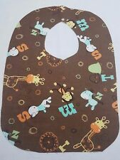 New Baby BIb ABC's Animals Brown Includes Free Name Embroidery on Front Unisex