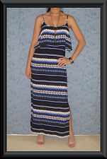 Blue, Black & White Aztec Print Ruffle Bodice Cut Out Back Summer Maxi Dress