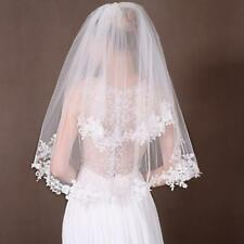 2T Elbow Wedding Veils Lace Appliques Edge Bridal Veil + Comb Accessories SC1156