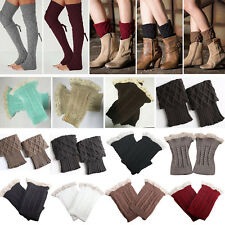 Women Warm Winter Crochet Boot Cuffs Shell Knitted Toppers Boot Socks Leg Warmer
