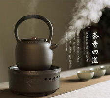 Black Ceramic Loop Handle Tea Water Kettle & 220V Electric Stove for Gongfu Tea