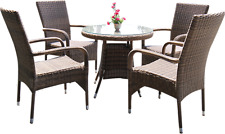 DONVALE Brown Wicker Rattan Outdoor Furniture Set Sofa Armchair Coffee Table