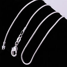 "Xmas Wholesale Silver Plated Lots 1PCS 1mm Snake Chains 16""-24"" Necklace Best"