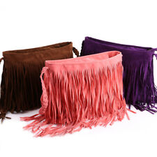 Hot Faux Suede Fringe Tassel Shoulder Bag Women Messenger Bag School Bag Bookbag