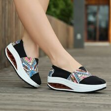 Women Summer Loafers Platform Sneakers Slip Ons Canvas Shoes Wedge Sole 5.5-8.5