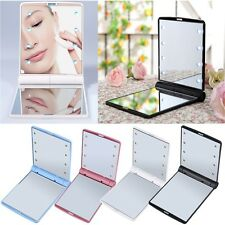LED Make Up Mirror Cosmetic Mirror Folding Portable Compact Pocket RJ