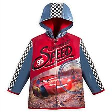 Disney Store Cars Rain Jacket Boys Lightening McQueen Coat Hood Red Retired NEW