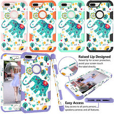 Patterned Anti-Shock Hybrid Rubber Hard Armor Case Cover For iPhone X 8 Plus 6 7