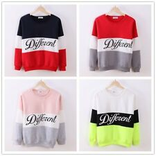 Fashion Letter Print Long Sleeve Sweatshirt Color Patchwork O Neck Pullovers YK