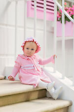 "BNWT Beautiful Pink Hand Knitted ""Lola"" Coat & Bonnet Set"