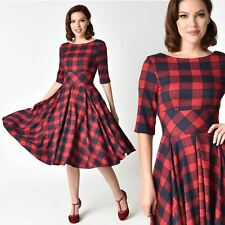 Vintage 50s unique Red and Navy Blue Plaid Swing Dress pinup rockabilly