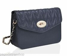 New Cross Body Bag Handbag in Faux Leather with a Quilted Flap in Blue or Red