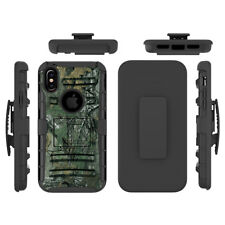 For iPhone X Hybrid Rugged Tough Shockproof Holster Case Rubber Cover Belt Clip