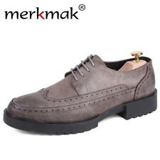 Merkmak Leisure Brogue Handmade Men Flats Shoes 2017 Fashion PU Leather Breathab