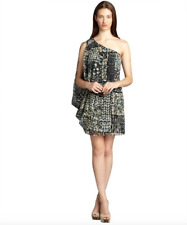 New Andrew Marc Black And Natural Printed Silk One Shoulder Drape Dress Sz 4