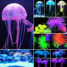 Silicone Artificial Fish Tank Aquarium Coral Jellyfish Ornament Decoration Light