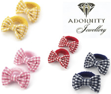 GINGHAM CHECK PAIR BOW HAIR PONIO PONYTAIL ELASTIC BOBBLES SCHOOL various colour
