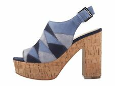 Marc Fisher Womens QUEENIE Leather Peep Toe Casual Platform Sandals