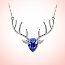 Christmas ELK Crystal Pendant Beauty Necklace Charm Chain Jewelry Access