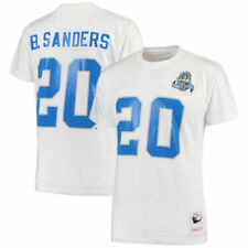 BNWT Detroit Lions Barry Sanders Mitchell & Ness White Throwback T-Shirt