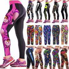 Women Yoga Sports Fitness Trouser Stretch Running Tights Capri Cropped 3/4 Pants