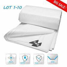 TOP 12 mil Heavy Duty Canopy Tarp WHITE 3pl Coated Tent Car Boat Cover USA N