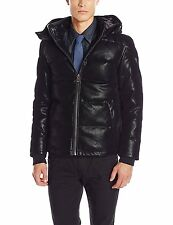 GUESS Men's Down Filled Faux Suede Puffer Jacket w- Removable Hood L Black NWT
