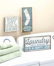 Country Blue Farmhouse Laundry Room Wall Signs Lost Sock Dirty Job Wash Dry