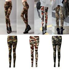 Womens Autumn Winter Thin Stretchy Skinny Leggings Camouflage Army Printed Pants
