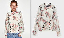ZARA BEAUTIFUL FLORAL PRINT CHIFFON BLOUSE TOP WITH FRILL AND LACE NEW