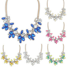 Fashion Party Bright Crystal Drop Resin Flower Statement Choker Bib Necklace Apt