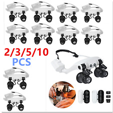 10PCS 10/15/20/25X Head Wearing Magnifier Magnifying Glass Loupe With 2LED Light