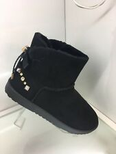 WOMENS LADIES BLACK FAUX SUEDE HIGH ANKLE BOOTS SHOES CASUAL FLAT HEEL SIZE 7