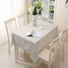 Home Decor Plaid Tablecloth Linen Cotton Dining Table Cover For Kitchen KF