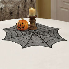 """30/40"""" Halloween Spider Round Web Tablecloth Spider Web Lace Table Topper"""
